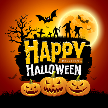 Happy Halloween message design with pumpkins, bat, tree, zombies and full moon on orange background