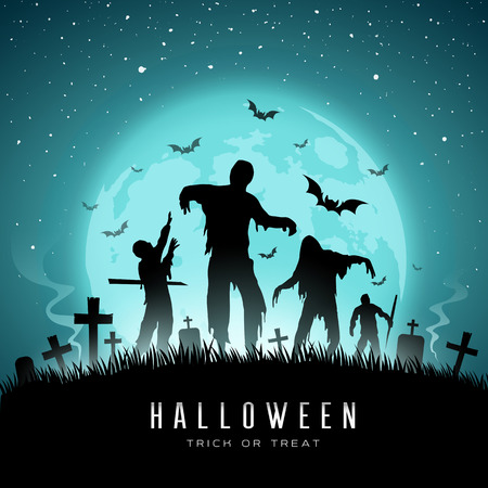 Happy Halloween Zombies and bat on full moon background, Vector illustration Ilustração
