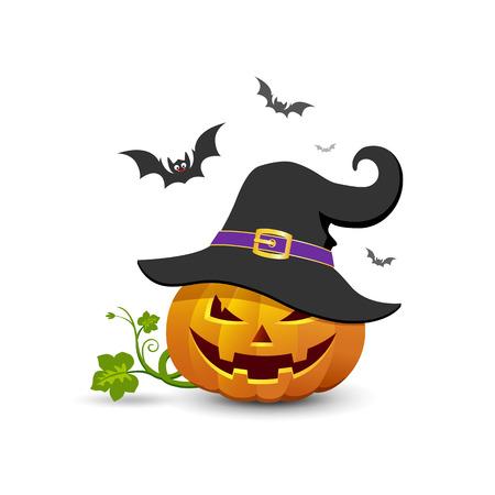Pumpkin wear black hats and bat ,Happy Halloween concept background design ,vector illustration