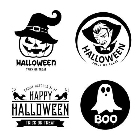 Happy Halloween black and white design collections background