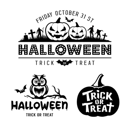 Halloween black and white design collections on white background, vector illustrations