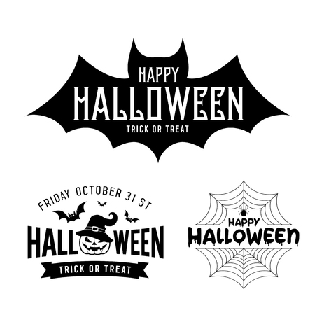 Happy Halloween black and white design collections on white background, vector illustrations