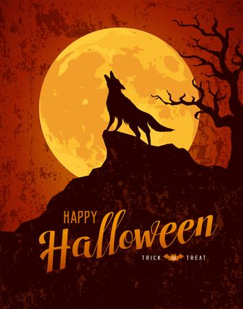 Happy Halloween howling wolf on the moon rough surface design Ilustração