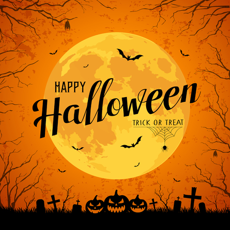 Happy Halloween message yellow full moon and bat on tree Ilustração