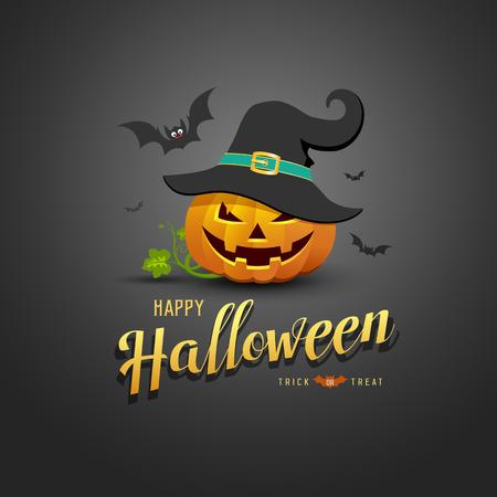 Happy Halloween Pumpkin wear black hats and bat on back background