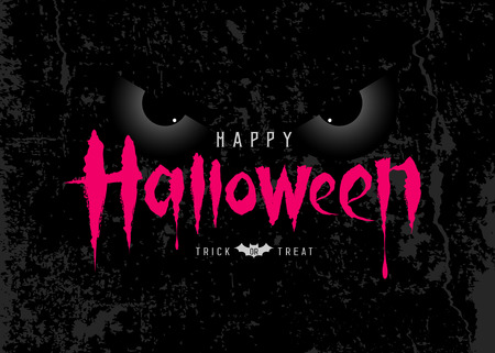 Happy Halloween pink message with spooky eye on rough surface background
