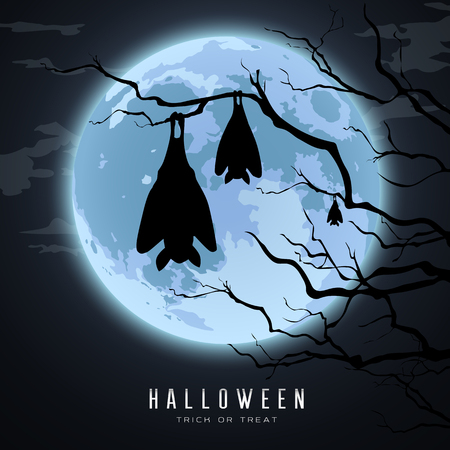 Happy Halloween, sleeping bat in tree on moon night background, vector illustration