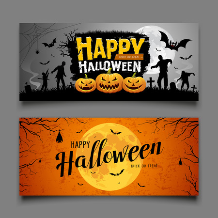 Happy Halloween party banners horizontal collections design background