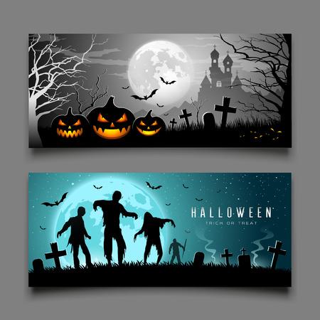 Happy Halloween pumpkin and zombies banners horizontal , Vector illustrations