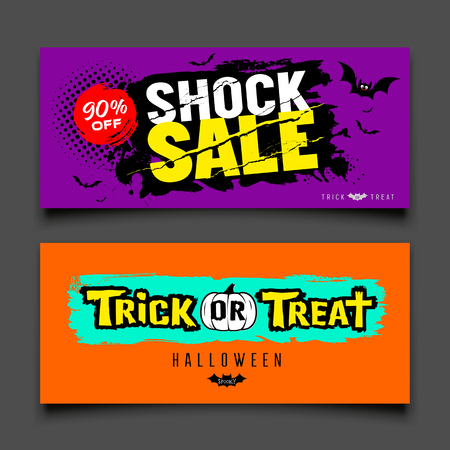 Happy Halloween sale colorful banners design collections, vector illustration