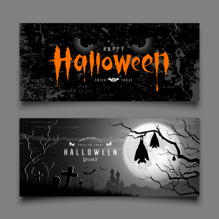 Happy Halloween devil eyes and sleeping bat in tree on moon night background collections