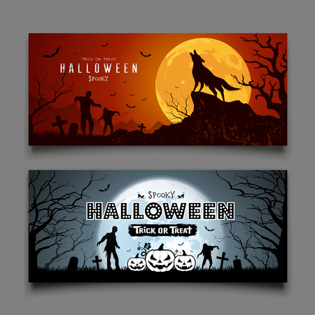 Happy Halloween howling wolf and Zombies and bat on moon night background collections