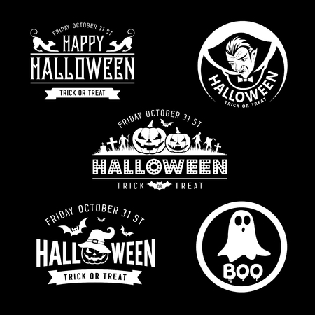 Happy Halloween black and white design collections on black background