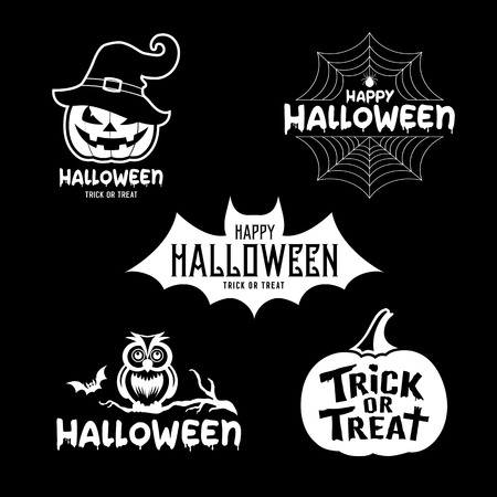 Happy Halloween party black and white design collections on black background