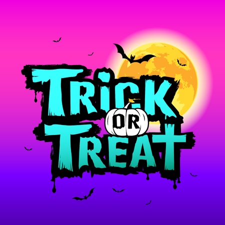 Halloween Trick or treat message on moon and purple background