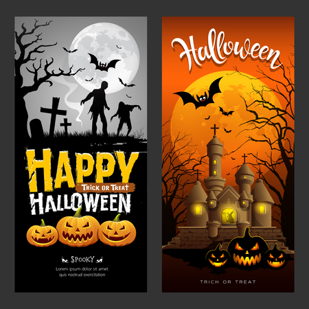 Halloween banners vertical collections design