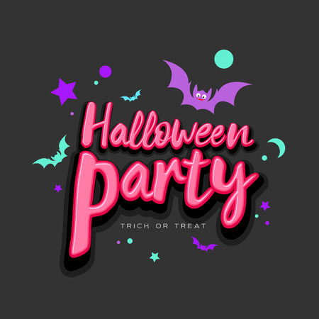 Halloween Party pink message with colorful bat