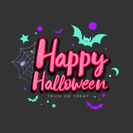 Happy Halloween pink message with colorful bat