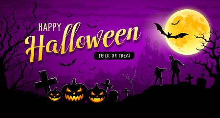 Glückliches Halloween-Banner auf lila Hintergrund der Mondnacht