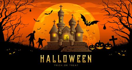 Happy Halloween banner castle on moon night orange background Ilustração