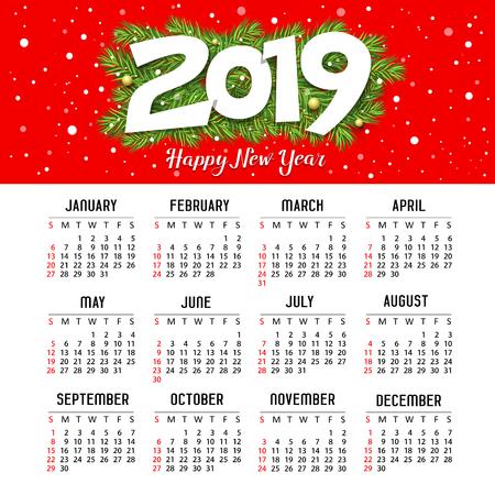 Calendar new year 2019, red design template design Ilustração