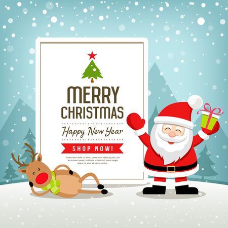 Christmas banners sale Santa Claus and reindeer design