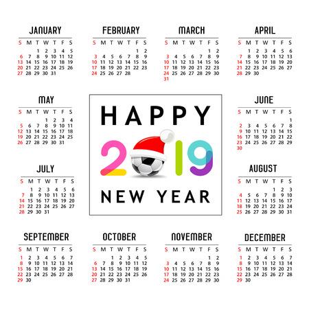 Calendar new year 2019, Santa hat on soccer ball
