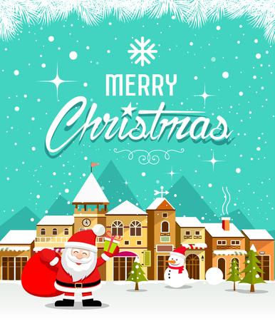 Merry Christmas lettering with Santa Claus and houses snow Ilustração