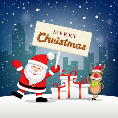 Merry Christmas Santa Claus hold label and reindeer smile on snowflake Ilustração