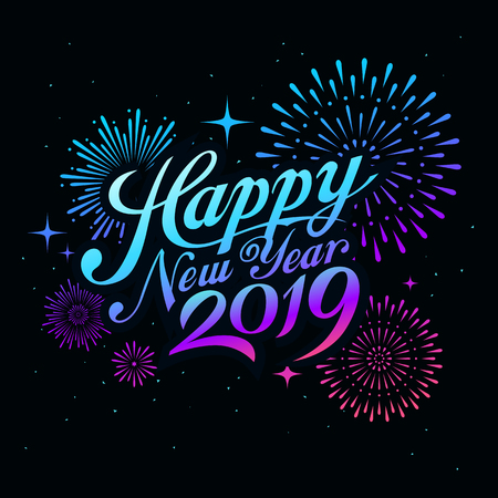 Happy new year 2019 message with firework colorful at night concept Ilustração