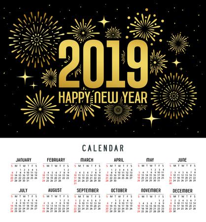 Calendar happy new year 2019 message firework gold and black template Ilustração