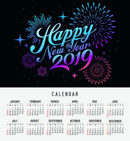 Calendar happy new year 2019 message firework colorful design Ilustração