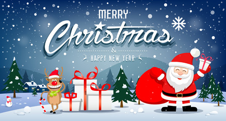 Merry Christmas Banners Santa Claus and reindeer smile on snowflake, vector illustration