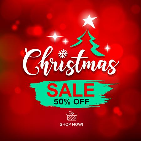 Merry Christmas sale brush stroke design with on red background, vector illustration Ilustração