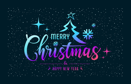Merry Christmas message colorful at star night background, vector illustration