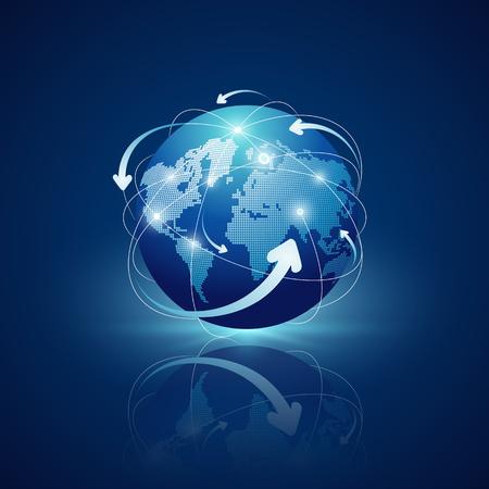 Globe connections network design on blue Ilustração