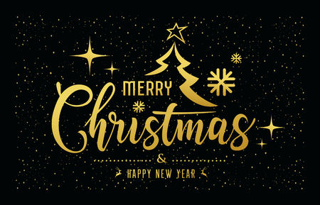 Merry Christmas message golden at star night