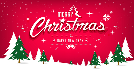 Merry Christmas, tree and snow design on red