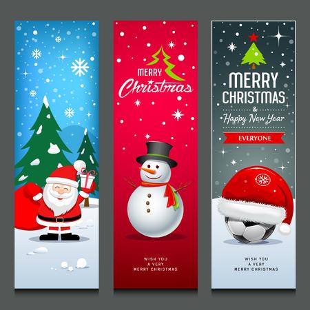 Merry Christmas, Santa Claus, snowman and hat, banners collections Ilustração