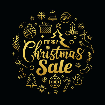 Merry Christmas sale message with icons golden circle shape