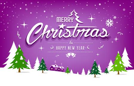 Merry Christmas, tree and snow design on purple