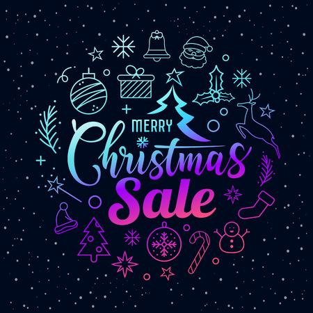 Merry Christmas sale message with icons purple circle shape on star Ilustração