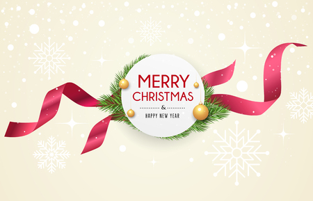 Merry Christmas ribbon label, banners design on snow and star
