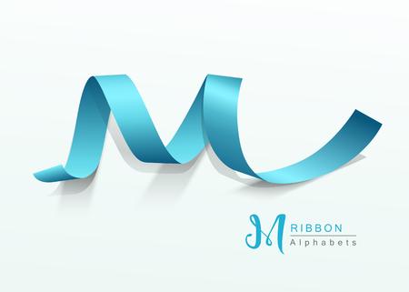 Alphabets blue ribbon design, illustration Ilustração