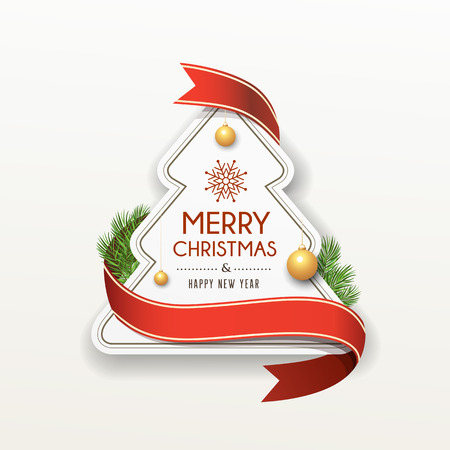 Merry Christmas paper red ribbon label design