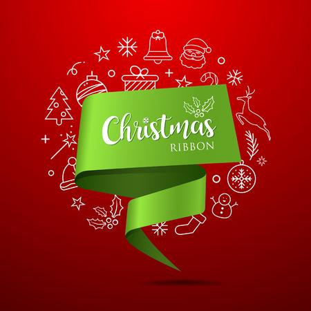Merry Christmas Ribbon green paper with icons Ilustração