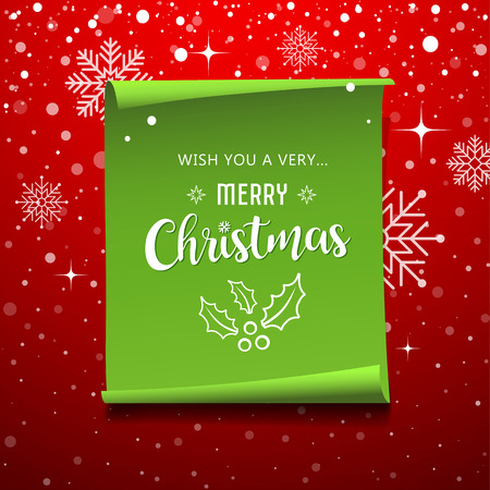 Green Roll paper with snowflake Merry Christmas