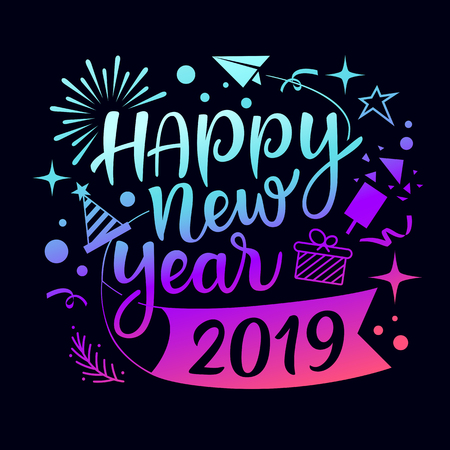 Happy new year 2019 message with icons illustration