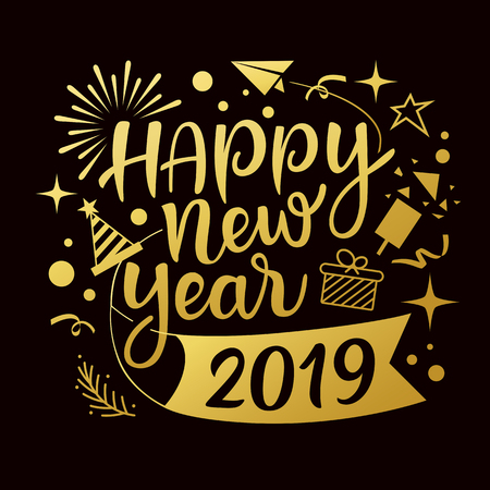 Happy new year 2019 message with icons gold design Ilustração