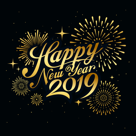Happy new year 2019 message with firework gold at night concept design Ilustração